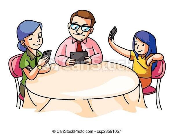 Family At The Dining Table Vector