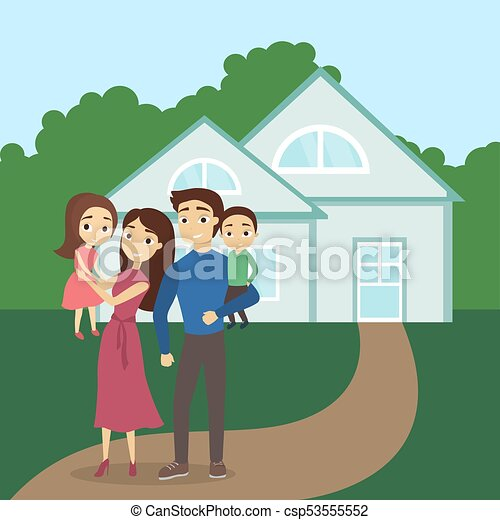 family at the new house happy parents and children clipart vector rh canstockphoto co uk New Home Inspirational Quotes New Home Inspirational Quotes