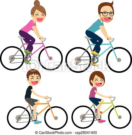 Family Bicycle Happy - csp28041400