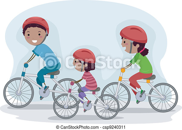 Family Biking Together - csp9240311