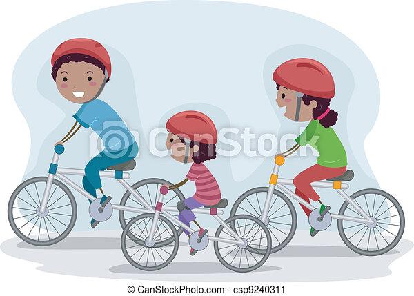 Family Biking Together - csp9240311
