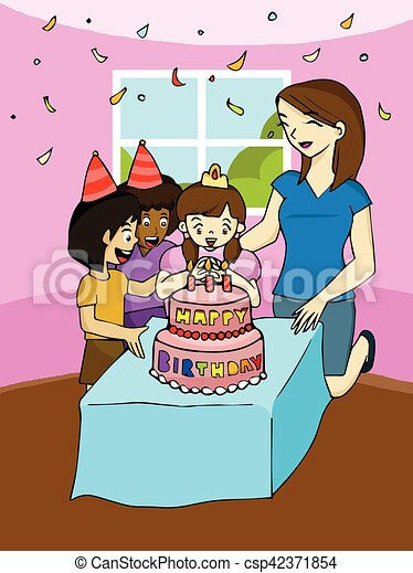 Family birthday party clipart vector Search Illustration Drawings