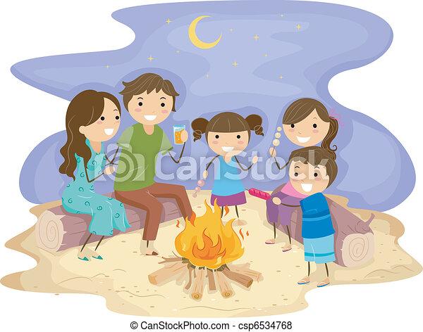 Family Bonfire Illustration Of A Gathered Around