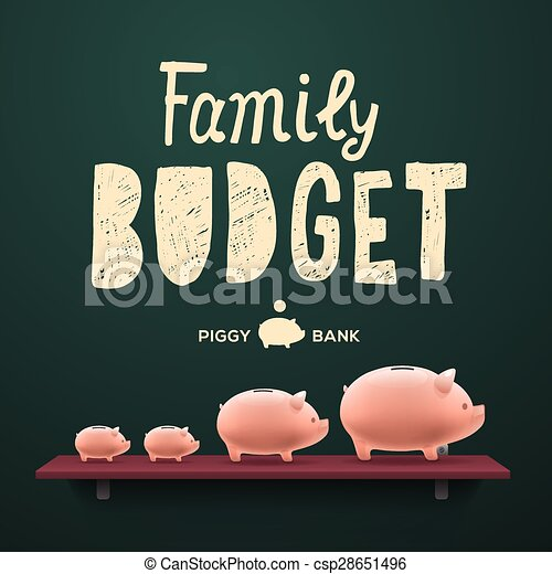 Family budget. Piggy money-boxes on the shelf - csp28651496