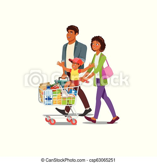 5bbd6272a4dbd Family buying food in grocery store cartoon vector. Happy african ...
