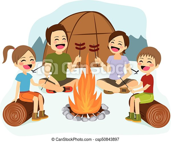 Family Campfire Happy Cooking Sausages And Marshmallows On