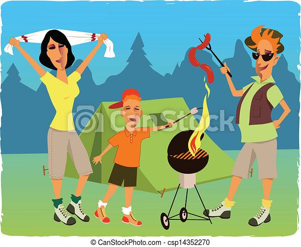 Family Camping And Barbecuing Vector
