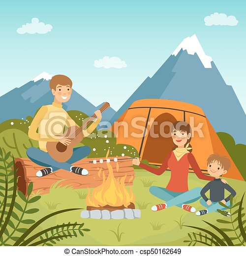 Family Camping In The Wood Near Big Mountains Nature Vector Background Illustrations