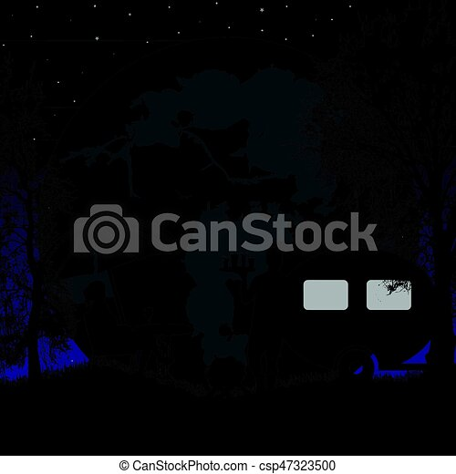 Family Camping On Beautiful Campsite At Blue Night