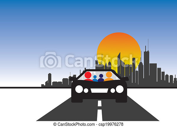 family, car and city concept vector graphic - csp19976278