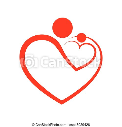 Family Care Symbol In The Heart Shape Vector Illustration Concept