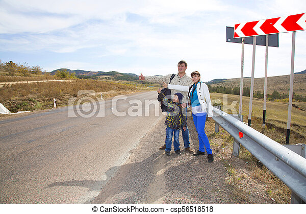 Family catches the car - csp56518518