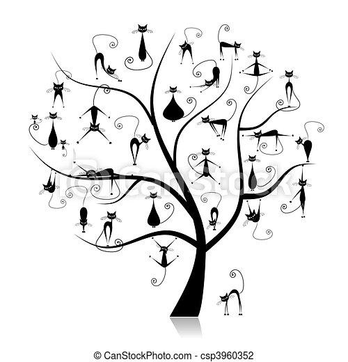 Family cats tree, 27 black silhouettes funny - csp3960352