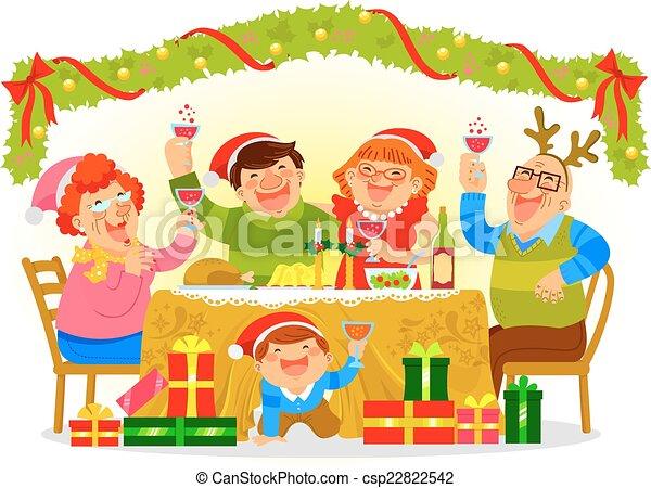 Christmas Celebration Cartoon Images.Family Celebrating Christmas