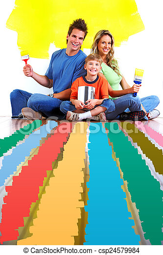 Family choosing a color for painting. - csp24579984