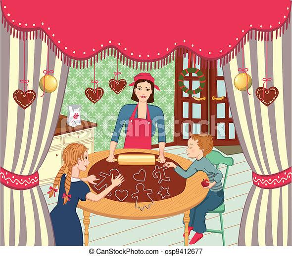 Family christmas baking - csp9412677
