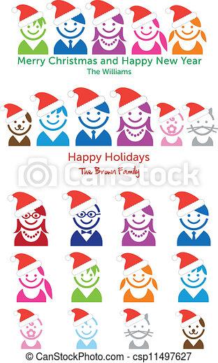 Family Christmas card, vector icons - csp11497627