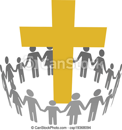 Family Circle Christian Community Cross - csp19368094