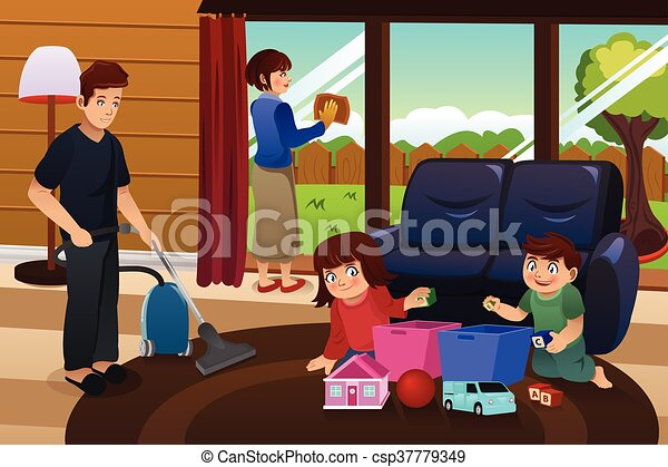 Family Cleaning House   Csp37779349