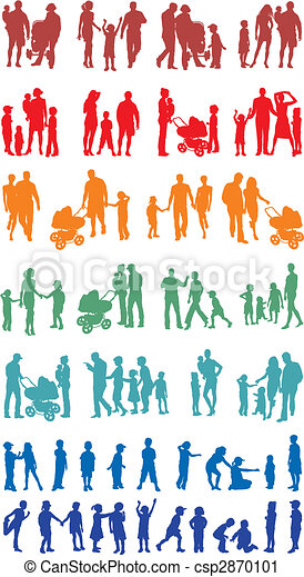 Family colourful silhouetted (vectors)  - csp2870101