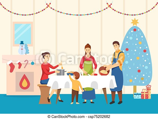 Family Cooking Dishes for Christmas Table Vector - csp75202682