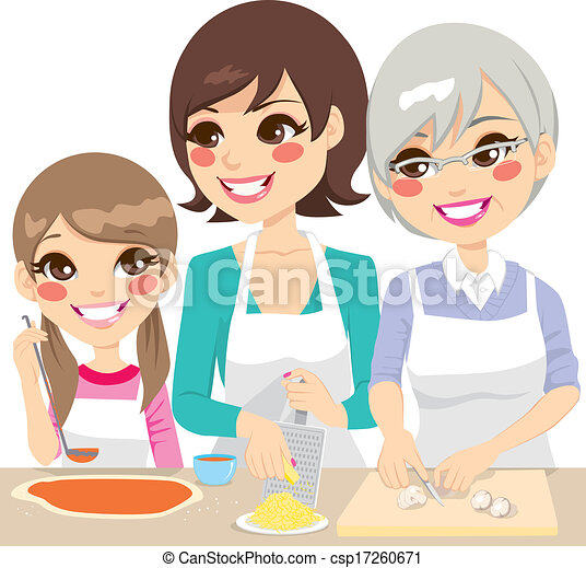 Family Cooking Pizza Together - csp17260671