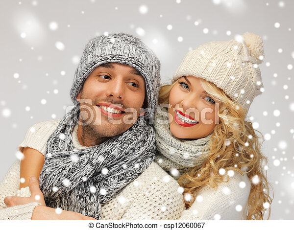 family couple in a winter clothes - csp12060067