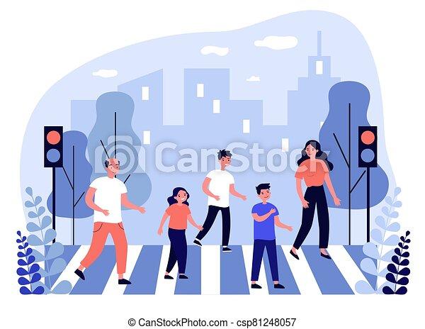 Family crossing street - csp81248057