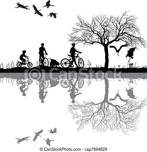 Family cycling in the countryside - csp7894829