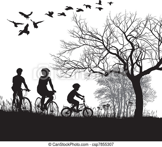 Family cycling in the countryside - csp7855307