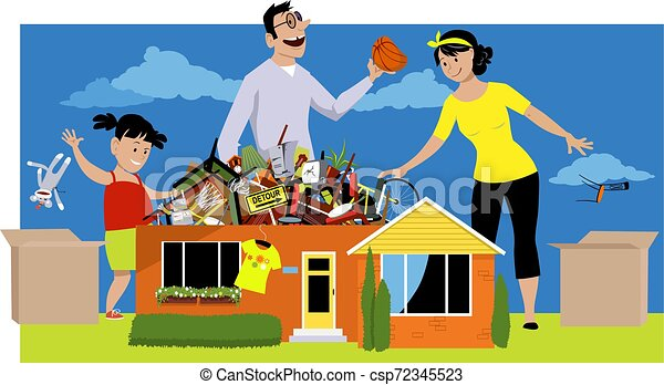 Family decluttering a house - csp72345523