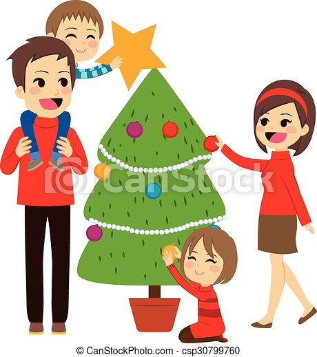 family decorating christmas tree csp30799760