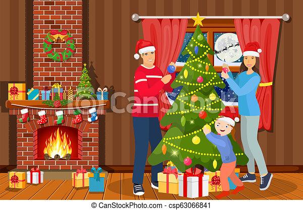 Christmas Celebration Cartoon Images.Family Decorating Christmas Tree