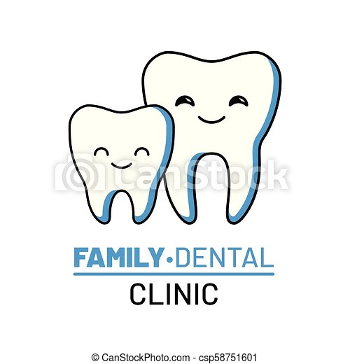Family Dental Clinic Isolated Logo Professional Dentistry Clinic Services Happy And Clean Teeth Characters Comic Dental