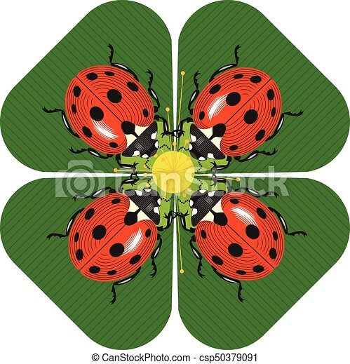 Family dinner of ladybugs at the round table - csp50379091