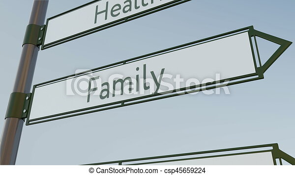 family direction sign on road signpost conceptual 3d rendering