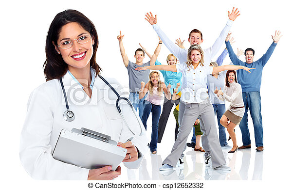 Family doctor woman and a group of happy people. - csp12652332