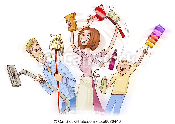 Family doing spring cleaning - csp6020440