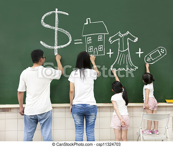 family drawing money house clothes and video game symbol on the chalkboard - csp11324703