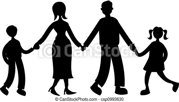silhouette of family holding hands isolated on white