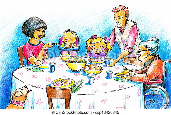 Family Having Dinner TogetherPicture Created With Drawing
