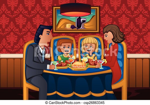 Family Eating Dinner Together Vector