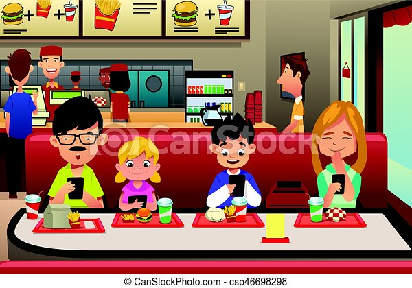 family eating out in the restaurant a vector illustration of family rh canstockphoto com clipart restaurant food clipart restaurant scolaire