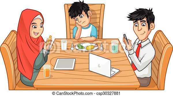 Family Eating Together Cartoon Character Parents Are Busy