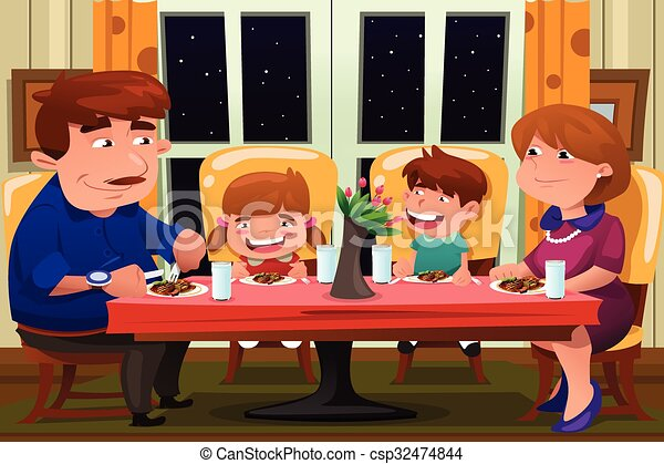 Family Eating Together A Vector Illustration Of Happy Eps