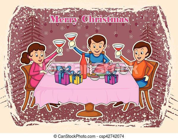 Family Enjoying Dinner For Merry Christmas Holiday Celebration Background