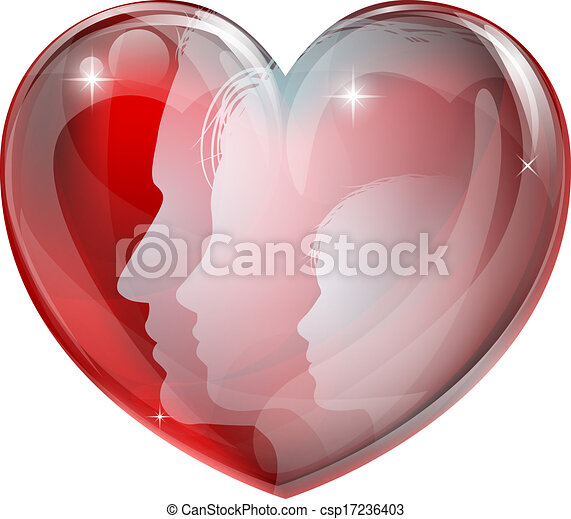 Family faces heart silhouettes - csp17236403