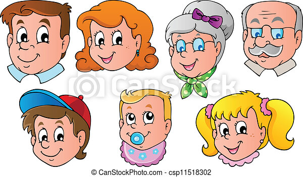 Vector Clipart Of Family Faces Theme Image 1 Vector
