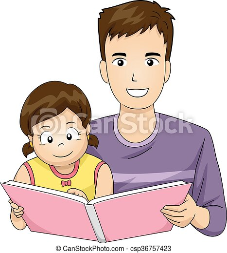 family father read book kid girl illustration of a father vector rh canstockphoto com father clip art images feather clip art free