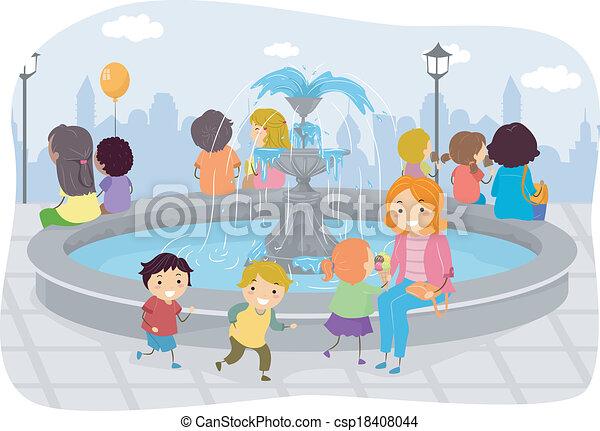 Family Fountain - csp18408044
